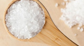 A pile of Pure White Sea salt for cooking